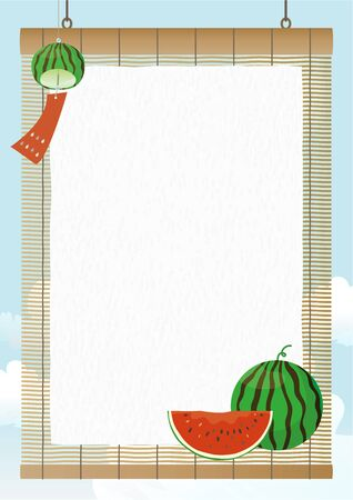 Vector vertical background with wind chimes and watermelon on the rattan blind.