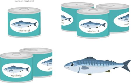 A set of vector illustrations of mackerel and mackerel canned. Vecteurs