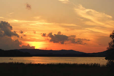 lipno: Sunset over the Lipno lake