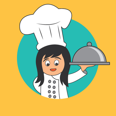 prepare: A chef woman with the toque holding cloche platter ready to serve. cartoon character. vector illustration.