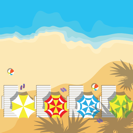 sunshade: top view of summer vacation with beach items and wave. vector illustration