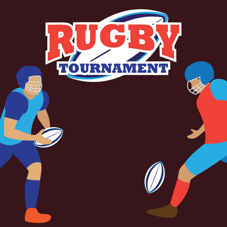 American football, rugby poster for the world cup, tournament, league event vector illustration.