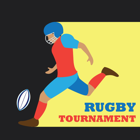 american football  rugby poster for the world cup, tournament, league event. vector illustration