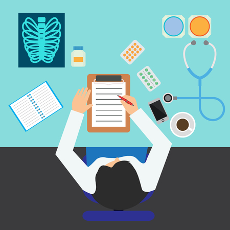 top view of doctors table in doctors room full of medical stuff. vector illustration