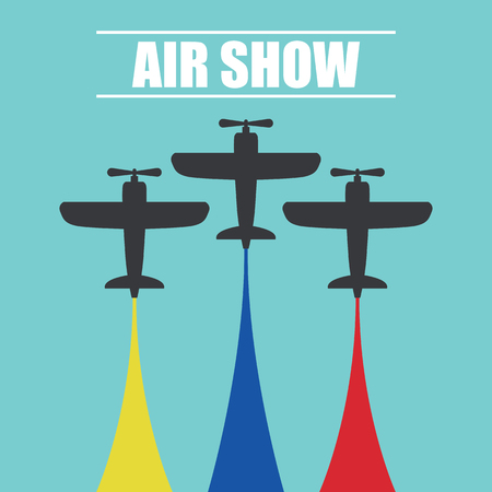 Maneuvers of an fighter planes in the blue sky for air show banner vector illustration.