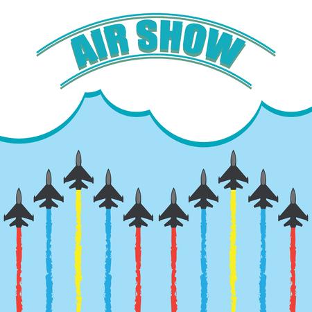 De manoeuvres van een gevechtsvliegtuigen in de blauwe hemel voor lucht tonen banner vectorillustratie.