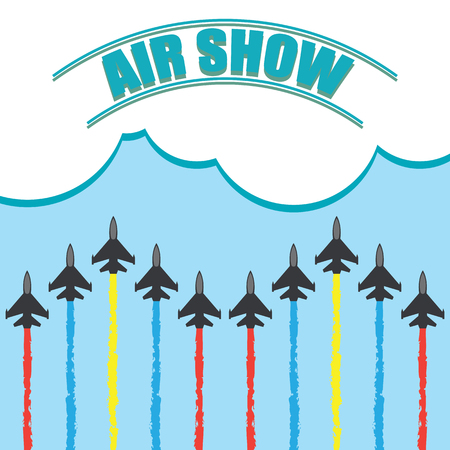Maneuvers of an fighter planes in the blue sky for air show banner vector illustration. Stock Vector - 92542899