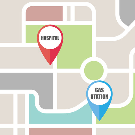 Road map direction with colorful pin pointer. vector illustration.