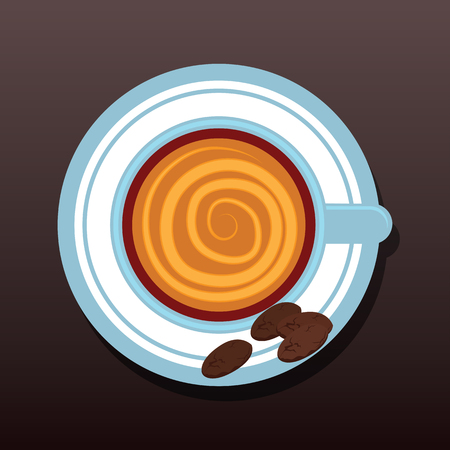 top view of chocolate latte art. vector illustration Illustration