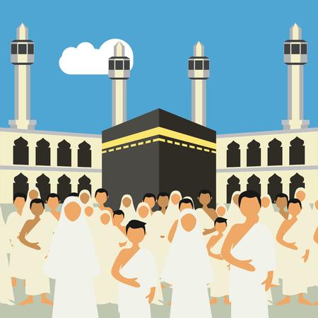 Muslim pilgrims perform Hajj / Umrah (pilgrimage to Mecca) around Kaaba at the Haram Mosque using Ihram (white garment). Cartoon Character. Vector Illustration  イラスト・ベクター素材
