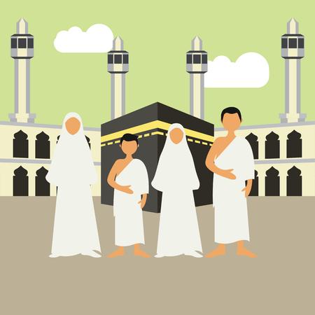Muslim pilgrims perform Hajj  Umrah (pilgrimage to Mecca) around Kaaba at the Haram Mosque using Ihram (white garment). Cartoon Character. Vector Illustration Illustration