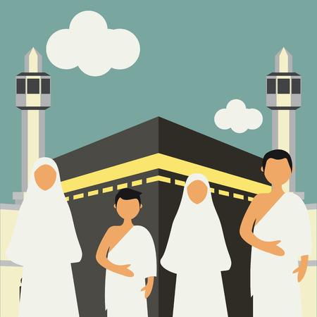 Muslim pilgrims perform Hajj / Umrah (pilgrimage to Mecca) around Kaaba at the Haram Mosque using Ihram (white garment). Cartoon Character. Vector Illustration 일러스트