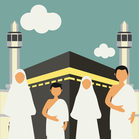 Muslim pilgrims perform Hajj / Umrah (pilgrimage to Mecca) around Kaaba at the Haram Mosque using Ihram (white garment). Cartoon Character. Vector Illustration Vettoriali