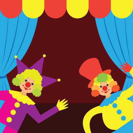 Clowns perform in front of a tent vector illustration. Illustration