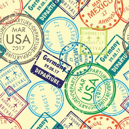 International business travel stamps arrivals seamless pattern. Vector illustration. Vettoriali