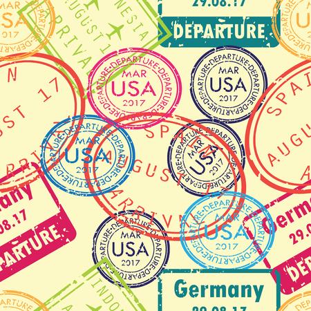 International business travel stamps arrivals seamless pattern. Vector illustration. 向量圖像
