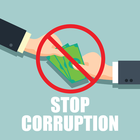 stop corruption concept businessman hand refusing corruption money, vector illustration  イラスト・ベクター素材