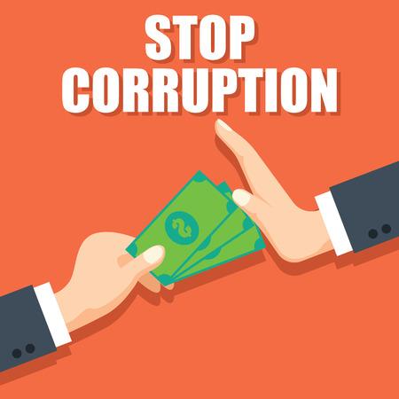 stop corruption concept businessman hand refusing corruption money, vector illustration Vectores