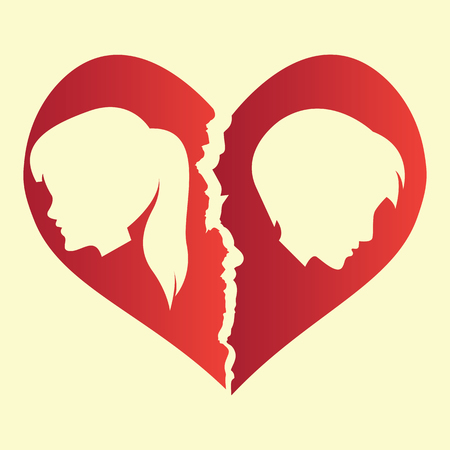 broken heart / heartbreak flat icon for broken heart concept, vector illustration