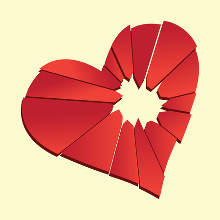 broken heart  heartbreak flat icon for broken heart concept, vector illustration