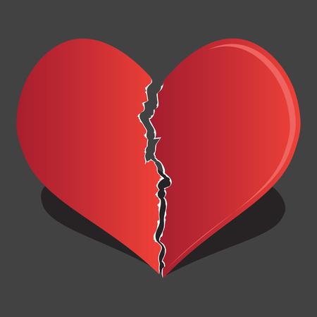 Broken heart / heartbreak flat icon for broken heart concept, vector illustration. Vettoriali