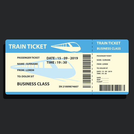 train ticket for traveling by train. vector illustration Ilustrace
