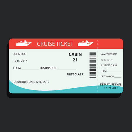 ship or cruise ticket for traveling. vector illustration