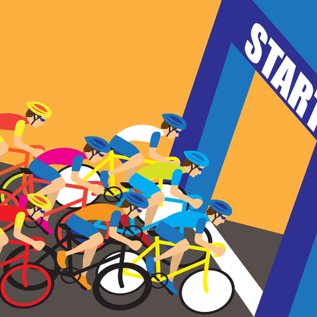 group of cyclist at professional race for bike rally event. vector illustration Vectores
