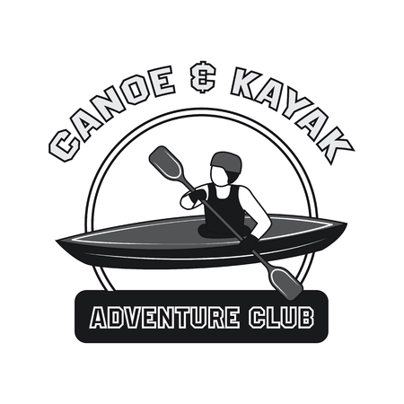 Canoeing and kayaking sport activity icon, emblems and insignia vector illustration.