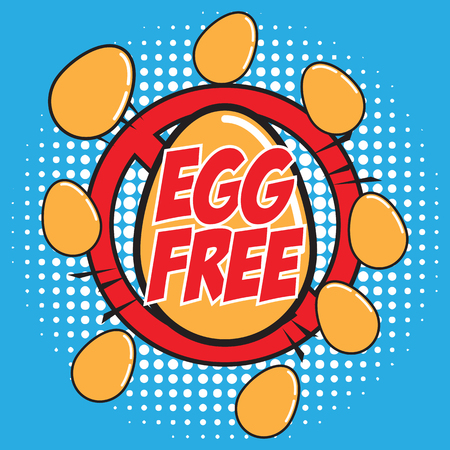 Egg free allergen ingredient for dairy free icon in pop art style vector illustration.