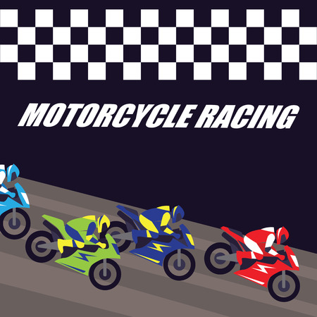Motorcycle racing poster and banner vector illustration.