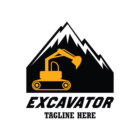 Excavator  excavation logo, emblems and insignia with text space for your slogan  tagline. vector illustration