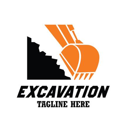 Logo de l'excavatrice / excavation, emblèmes et insignes avec espace de texte pour votre slogan / slogan. illustration vectorielle