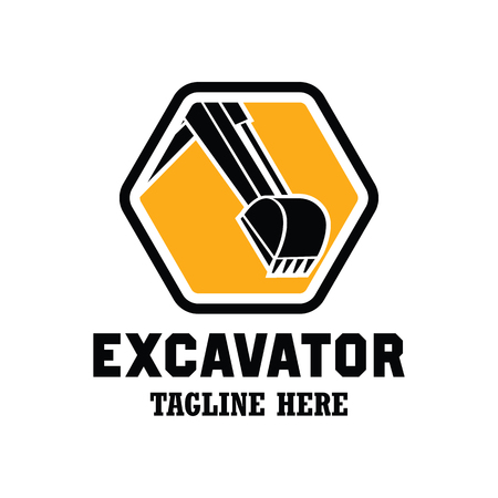 Excavator / excavation logo, emblems and insignia with text space for your slogan / tagline. vector illustration