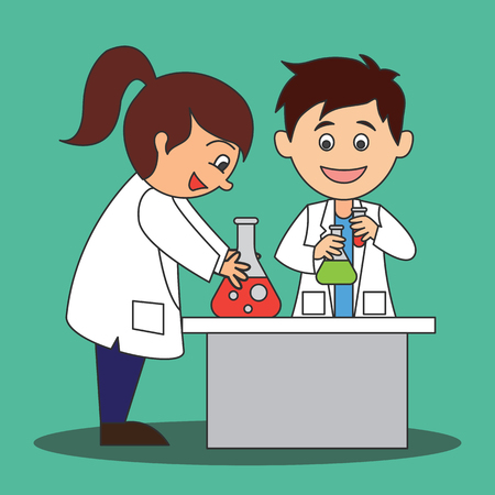 scientist man and woman doing research and analysis in a laboratory. cartoon character. vector illustration Иллюстрация