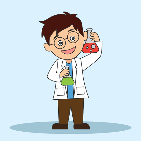 scientist man doing research and analysis in a laboratory. cartoon character. vector illustration