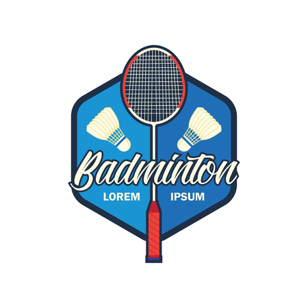 badminton emblem with text space for your slogan / tag line. Illustration
