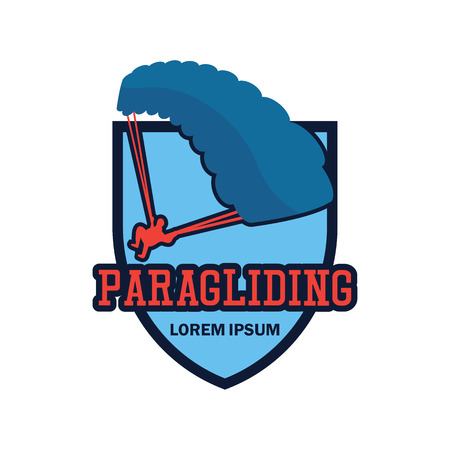 paragliding emblem with text space for your slogan / tag line  イラスト・ベクター素材