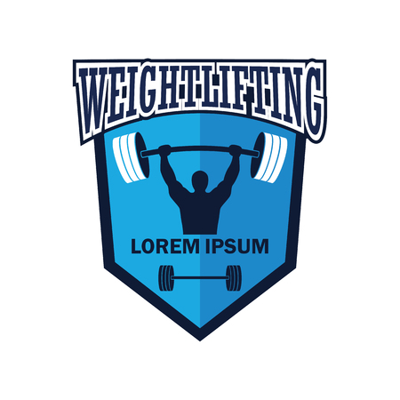 weight lifting emblem with text space for your slogan / tag line, vector illustration