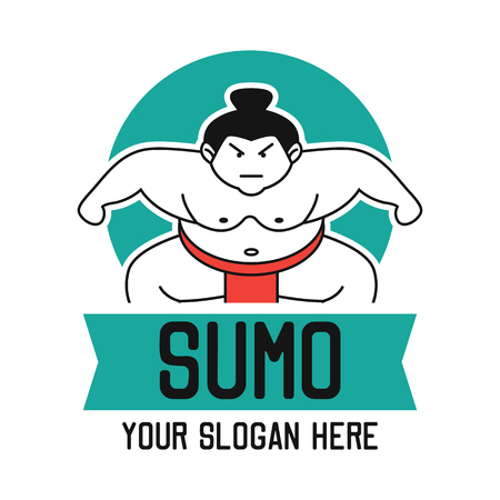 sumo emblem with text space for your slogan  tag line, vector illustration Illustration