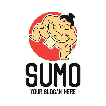 emblema di sumo con lo spazio del testo per il tuo slogan / slogan, illustrazione vettoriale
