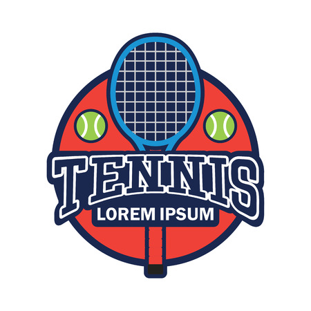 tennis court emblem with text space for your slogan / tag line, vector illustration