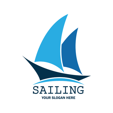 sailing emblem with text space for your slogan / tag line, vector illustration