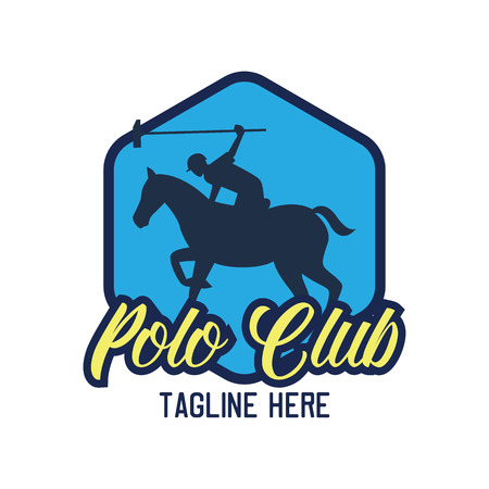 polo sport emblem with text space for your slogan / tag line, vector illustration
