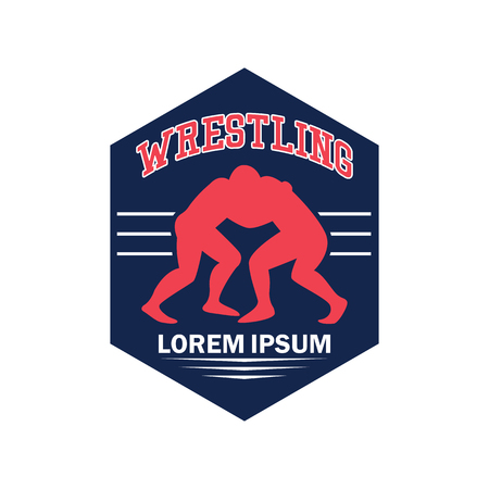 wrestling  emblem with text space for your slogan / tag line, vector illustration