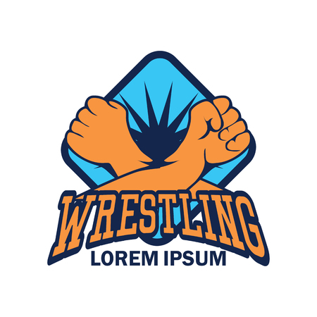 wrestling emblem  with text space for your slogan  tag line, vector illustration