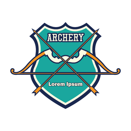 archery emblem with text space for your slogan / tag line, vector illustration Иллюстрация