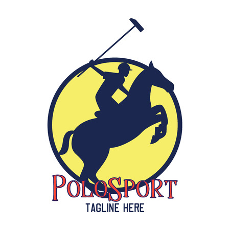 polo sport emblem with text space for your slogan  tag line, vector illustration