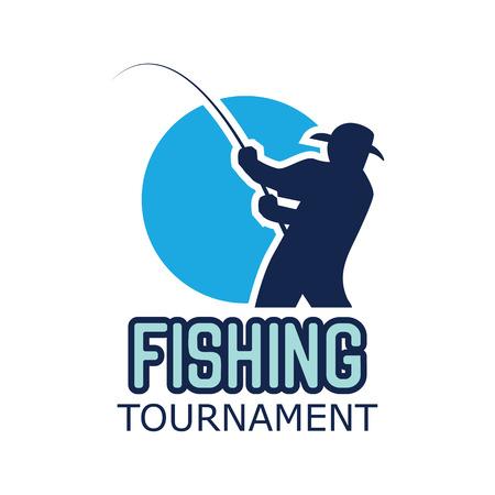 Logotipo de pesca con espacio de texto para su lema / eslogan, ilustración vectorial