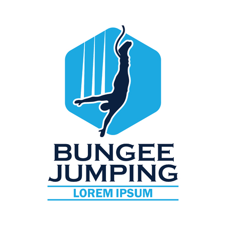 bungee jumping logo with text space for your slogan  tag line, vector illustration